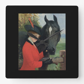 Vintage Black Horse Equestrian Red Riding Jacket Square Wall Clock