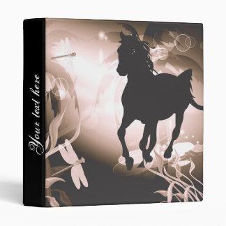 Vintage, black horse silhouette binders