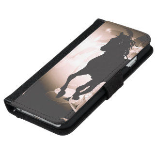 Vintage, black horse silhouette iPhone 6/6s wallet case