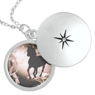 Vintage, black horse silhouette round locket necklace