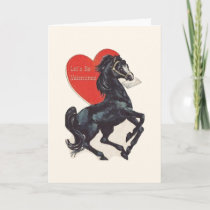 Vintage Black Horse Valentine's Day Card