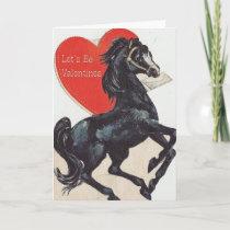 Vintage Black Horse Valentine's Day Card