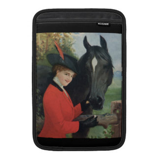 Vintage Black Horse Woman Red Riding Jacket Sleeve For MacBook Air