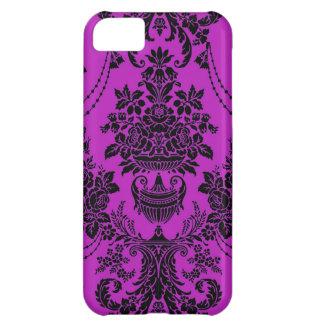 Vintage black hot pink floral damask iPhone 5 case