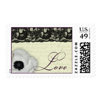 Vintage black lace and white anemone postage