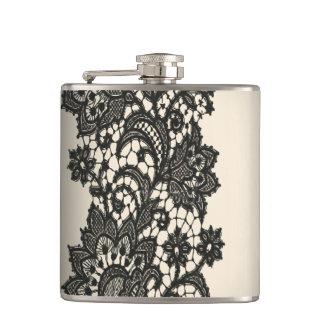 Vintage black Lace beige Paris fashion Hip Flask