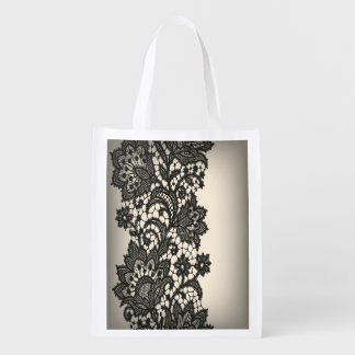 Vintage black Lace beige Paris fashion Reusable Grocery Bags