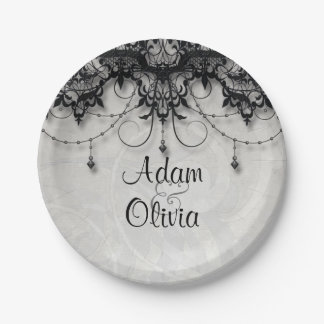 Vintage Black Lace Chandelier Monogram Wedding Paper Plate