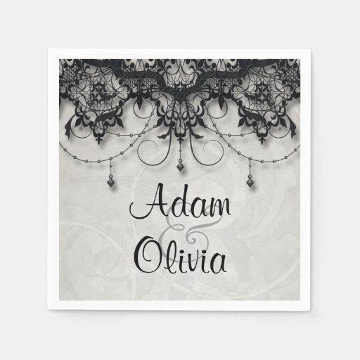 Vintage Black Lace Chandelier Monogram Wedding Paper Napkin