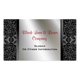 Vintage Black Lace Roses Business Cards