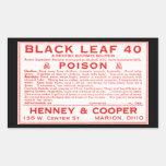 Vintage Black Leaf 40 Poison Label Rectangular Stickers