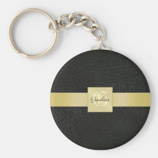 Vintage Black Leather Gold Monogram Keychain