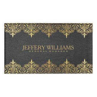 Vintage Black Leather Gold Swirls Frame Name Tag