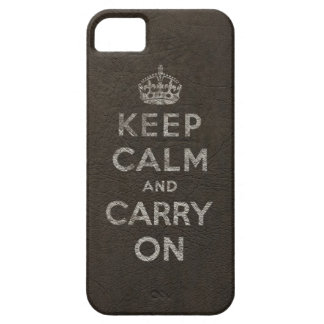 Vintage Black Leather Keep Calm And Carry On iPhone SE/5/5s Case