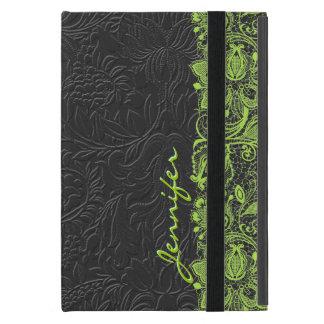 Vintage Black Monotones Damask & Green Lace iPad Mini Cover
