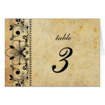 Vintage Black Motif Wedding Table Number Greeting Card