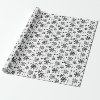 Vintage Black on White Snowflakes Wrapping Paper