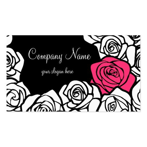 Vintage black, pink and white roses Business Card