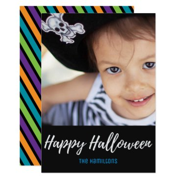 Halloween Themed Vintage Black Purple Stripes Halloween Photo Card