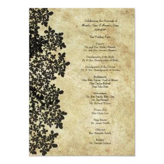 Vintage Black Queen Ann's Lace Wedding Program Card