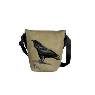 Vintage Black Raven Messenger Bag