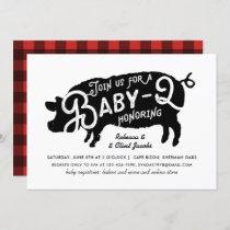 Vintage Black Red Pig Baby-Q BBQ Baby Shower Invitation
