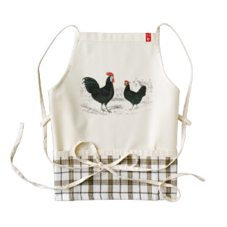 Vintage Black Rooster Zazzle HEART Apron