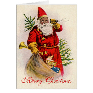 Vintage Black Santa Card