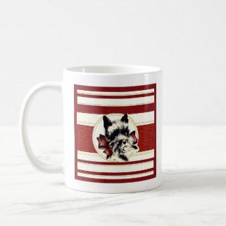 Vintage Black Scottish Terrier on red mug