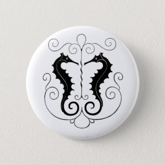 Vintage Black Seahorses Button