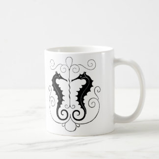 Vintage Black Seahorses Coffee Mug