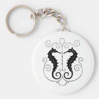 Vintage Black Seahorses Keychain