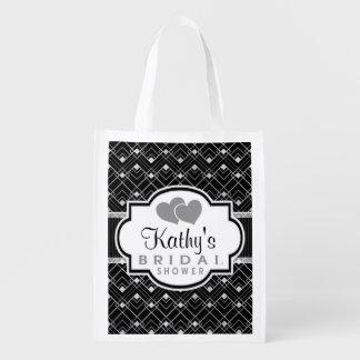 Vintage Black & Silver Art Deco Bridal Shower Reusable Grocery Bag