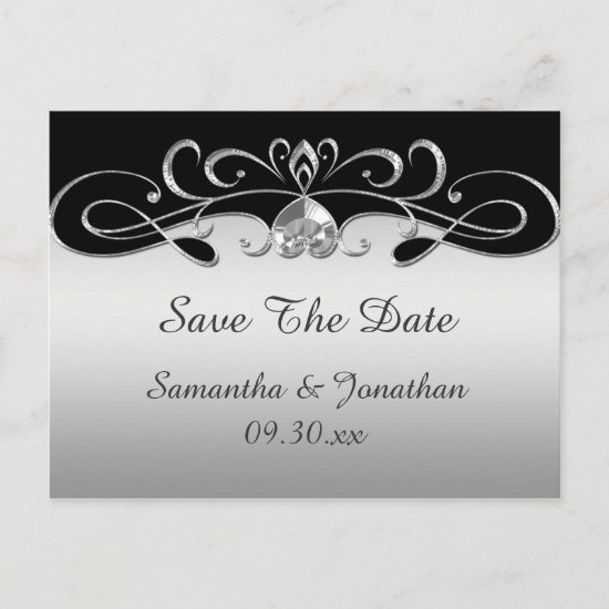 Vintage Black Silver Ornate Swirls Save The Date Announcement Postcard