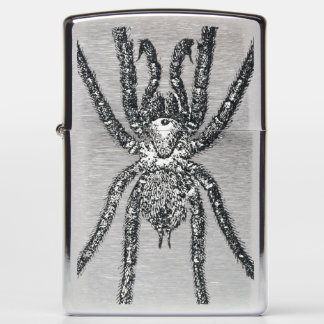 Vintage black spider illustration zippo lighter