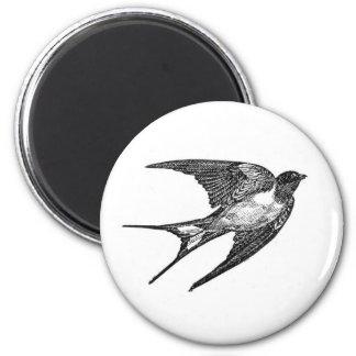 Vintage Black Swallow Design 2 Inch Round Magnet