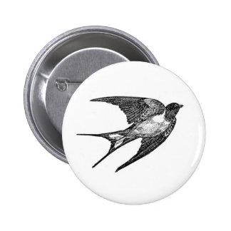 Vintage Black Swallow Design Pinback Buttons