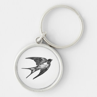 Vintage Black Swallow Design Keychain