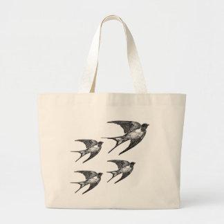 Vintage Black Swallow Design Large Tote Bag