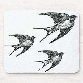 Vintage Black Swallow Design Mouse Pad
