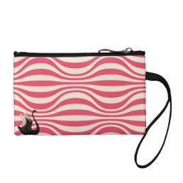 Vintage Black Swan on Cute Pink and White Clutch