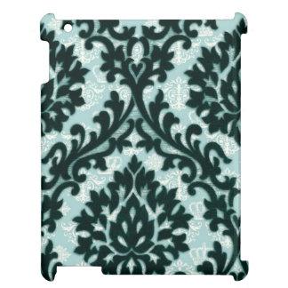 Vintage Black Teal Floral Damask Pattern. iPad Case