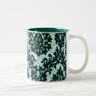 Vintage Black Teal Floral Damask Pattern. Coffee Mug