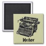 Vintage Black Typewriter 2 Inch Square Magnet