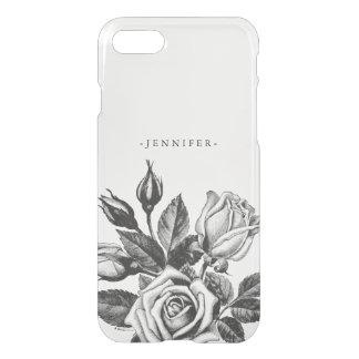 Vintage Black Victorian Tea Roses Clear iPhone 7 Case