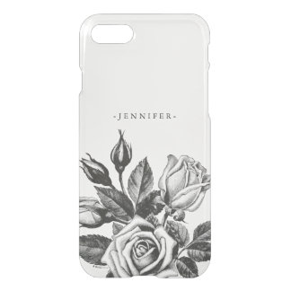 Vintage Black Victorian Tea Roses Clear iPhone 8/7 Case