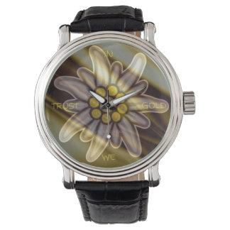 Vintage Black Watch edelweiss EN ORO WE TRUST Relojes