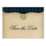 Vintage Black Watch Tartan Plaid Save the Date Post Card