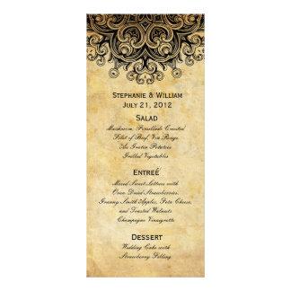 Vintage Black Wedding Menu Rack Card