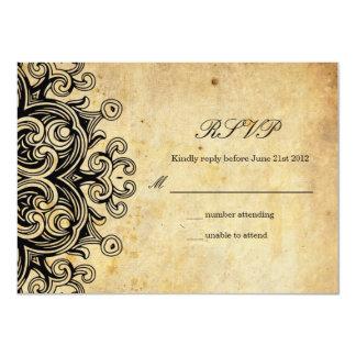 Vintage Black Wedding RSVP Card